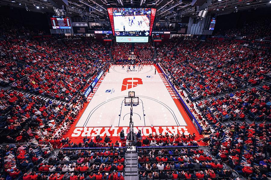 Full arena for a Dayton University basketball game