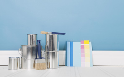 paint cans and swatches