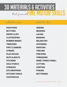 materials for fine motor skill practice